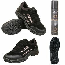 Mens Black Trail Trainers With Waterproof Spray Size UK 6 7 8 9 10 11 12 13