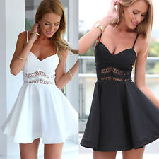 Womens Sleeveless Strappy Summer Evening Cocktail Party Clubwear Lace Mini Dress