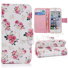 Flip Wallet PU Leather Stand Case Cover For  Floral Pattern Apple iPhone 5 5S