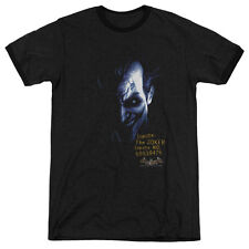 Batman Aa Arkham Joker Mens Adult Heather Ringer Shirt Black