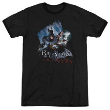 Arkham City Batman Joke'S On You! Mens Adult Heather Ringer Shirt Black