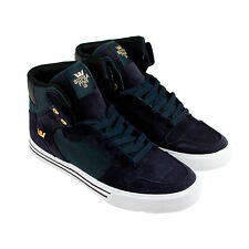 Supra Vaider Mens Navy Suede High Top Lace Up Trainers Shoes