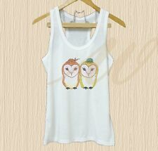 Couple barn owl tank top Bird art tee XS S M L XL white tank top/Grey tee/ dress