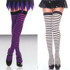 4741 Stockings Striped Opaque Thigh Highs O/S Reg Black Purple or White Stripes