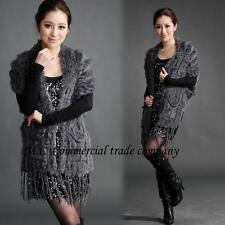 """Real Knitted Rabbit Fur Scarf Shawl Cape Wrap Stole Poncho Sweater 33.85"""" Soft"""