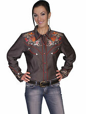 NWT SCULLY Charcoal Gray Western Embroidered Pearl Snap Shirt S M L Guitars