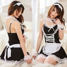 Women Maid Lingerie Outfit Fancy Dress Halloween Costume Babydolls Cosplay C99