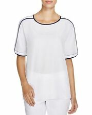 Finity Womens Short Sleeve Piping Blouse White/Navy 2 4 6 8 12 14 NWT $144