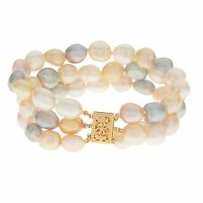 Pearls For You 14k Gold Baroque Freshwater Pearl Hand Knotted 3-strand Bracelet