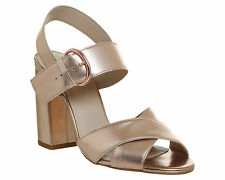 Womens Office Nigella Cross Strap Block Heels ROSE GOLD LEATHER Heels