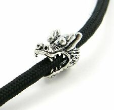 Metal Antique Silver Dragon Beads For Paracord Bracelets & Lanyards - US Seller