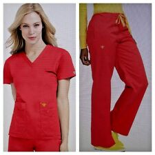 NWT Med Couture Women's Scrub Set (Top 8458/ Pant 8705) Tangerine/Honey Small