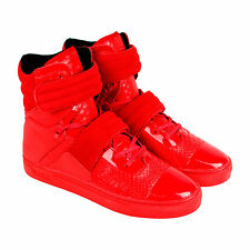 Radii FM1096 Mens Red Leather High Top Strap Sneakers Shoes