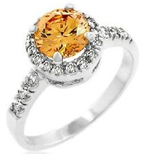 Champagne Solitaire Micro Pave Set HALO Cz Cubic Zirconia Ladies Engagement Ring