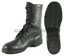 Boys Hiking Military Lace Up LEATHER COMBAT Ankle BOOTS Black 3-6 NEW