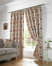 """Henley Terracotta Heavy Jacquard 3"""" Pencil Pleat Tape Lined Ready Made Curtains"""