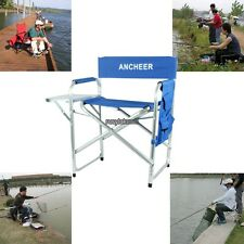 Portable Folding Aluminum Directors Chair w/ Side Table Outdoor Fishing Solid#