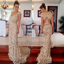 2017 Stunning Mermaid Lace Evening Dresses Sleeveless Prom Gowns Dress To Party