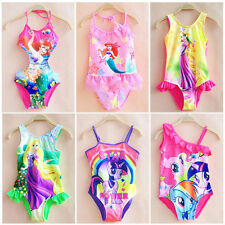Girls Kids One-Piece Swimwear Bikini Tankini Swimsuit Swimming Costume Set 2-10Y