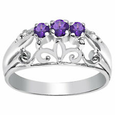 Orchid Jewelry 925 Sterling Silver 0.22 Carat Amethyst Ring