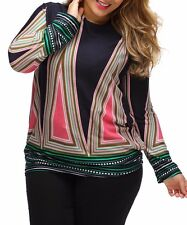 Women Fashion Trendy Printed Long Sleeve Plus Size Top Blouses