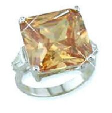 25ct Cushion Cut Champagne Channel Baguettes Cz Cubic Zirconia Cocktail Ring