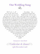 Wedding / Anniversary / Valentines song lyrics personalised gift - any song!