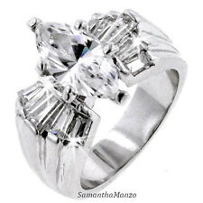 SILVER or GOLD 4ct Marquise Baguettes Cut Cz Solitaire Engagement Wedding Ring