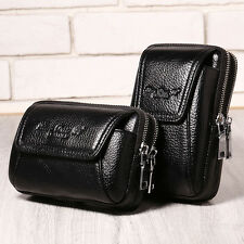 Men Genuine Leather Fanny Waist Bag Cell Mobile Phone Coin Purse Belt Bum Pack
