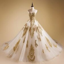 White/Ivory A Line Wedding Dresses Gold Applique Lace Quinceanera Prom Gowns