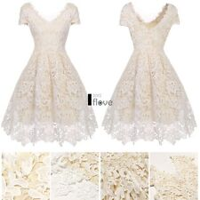 Sexy Women V-Neck Cap Sleeve Flower Lace Cocktail Party Bubble Dress ILOE