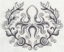 Elegant OCTOPUS Towel~Embroidered Nautical Hand & Bath Towels~Beach Bathroom