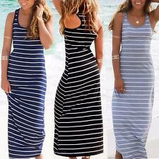 Fashion Women Long Maxi Beach Dress Summer Stripe Evening Party Casual Dress UK