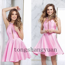 Pink Halter Beads Prom Dresses For Lady Formal Evening Gowns Satin Pageant 2017