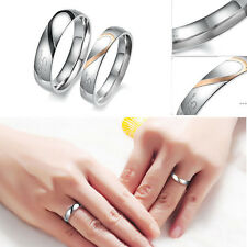"""Real Love"" Heart Couple Promise Engagement Stainless Steel Ring Wedding Band"