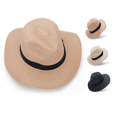 Womens Floppy Wide Brim Summer Sun Hat Black Belt Beach Straw Cap