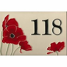 Bespoke House number Tile and poppy