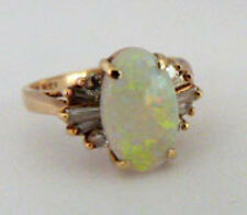 Gold solid 14k ,natural diamond and opal ,Vintage