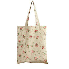 Women's Red Rose Floral Canvas Tote Shopping Bag Beige (Open)