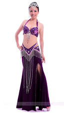New Belly Dance Costume Outift 3PCS set of Bra&Belt&Skirt 34B/C 36B/C 10 colors