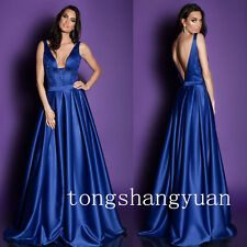 Blue Prom Dresses V-Neck Evening Gowns For Women Satin Formal Pageant Cocktail