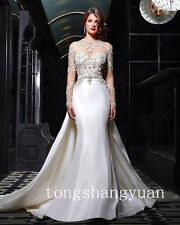 Long Sleeve Mermaid Wedding Dresses For Bride Cathedral Detachable Bridal Gowns