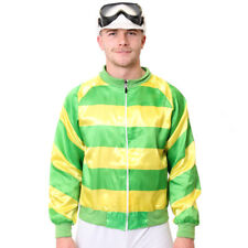 JOCKEY COSTUME 2 PIECE GREEN SET MENS HORSE RACING FANCY DRESS ADULT JACKET CAP