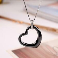 Black Love Heart Ceramic CZ 925 Sterling Silver Necklace Pendant Chain Gift M9P8