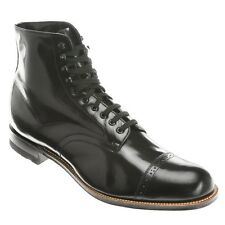 Stacy Adams Ankle Boot Biscuit Madison Black  Wide Cap Toe Lace Up  00015-01 E W