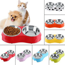 Dog Cat Stainless Steel Food Water Two Bowls Pet Feeder Dish Plastic Pallet WY