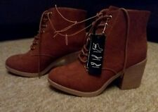 Ladies Tan Coloured Suede Like Ankle Boots with heel, lace up, wide fit