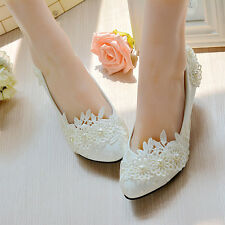 Heart Pearl White Lace Floral Bridal Wedding Shoe Taul High Heel Flat Platform B