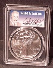 2016 $1 Silver Eagle DAVID HALL Signed PCGS MS 70 Very Low Final Pop of 693