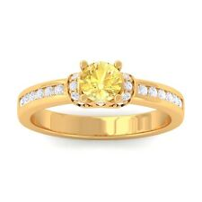 Yellow Sapphire FG SI Channel Diamonds Engagement Ring Women 18K Solid Gold